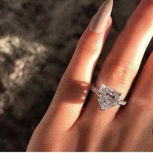 Women 925 Silver White Sapphire Heart Ring